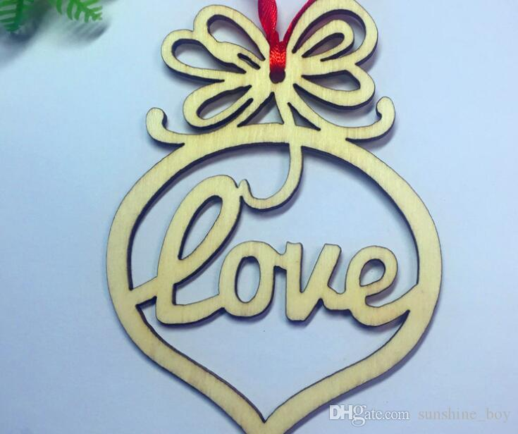 2018 hot Christmas letter wood Heart Bubble pattern Ornament Christmas Tree Decorations Home Festival Ornaments Hanging Gift 6style/bag