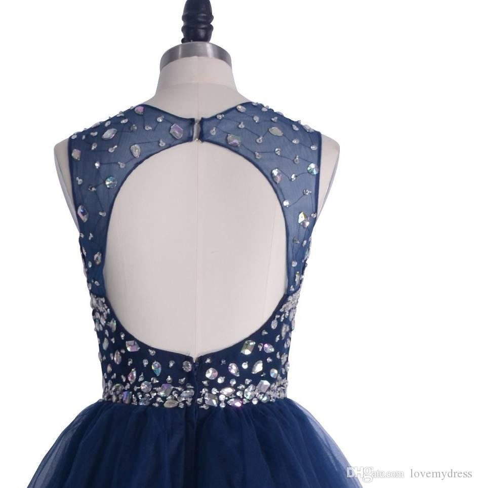 Neueste Marineblaue Cocktailkleider Kristall Bateau Perlen Kurz Mini Tüll Kugelkleid Rüste Homecoming Kleid 2021 Bezaubernde Beach Party Kleider