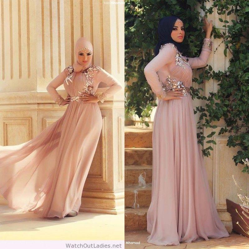 2018 Saudi Arabic Women Kaftan Evening Gowns Chiffon Long Sleeve