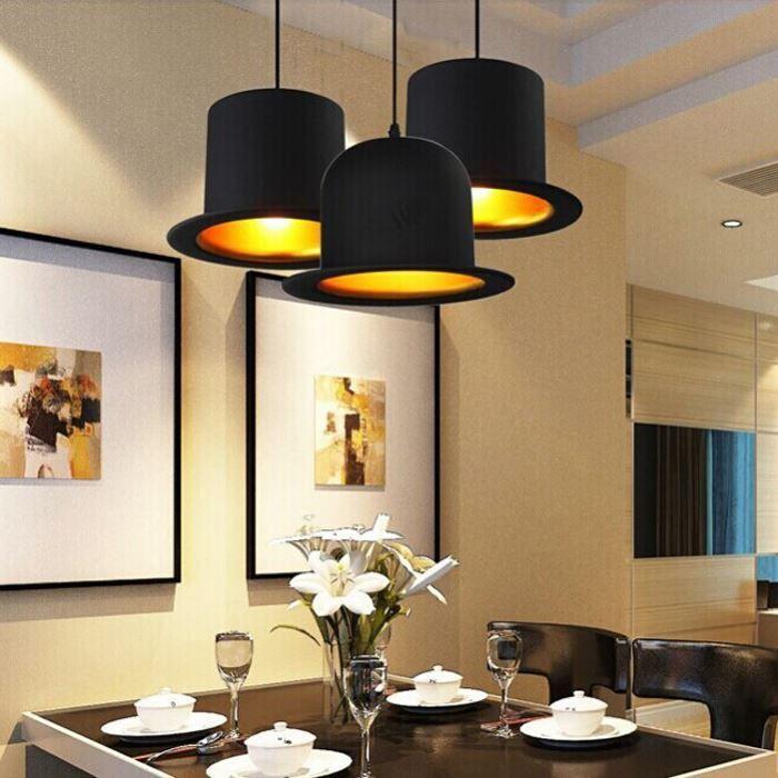 Attractive Creative Lamp Holder Jeeves U0026 Wooster Top Hat Pendant Light Aluminum Fedora  Hat Light Dining Room Bedroom Britain Droplight Plug In Pendant Light  Indoor ...
