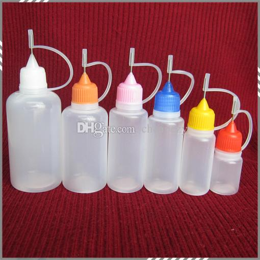 Nadelflasche Kunststoff-Nadel-Flasche für E-Flüssigkeit mit bunten Kappen-Tipp 5ml 10ml 15ml 20ml 30ml 50ml leere Flasche DHL frei