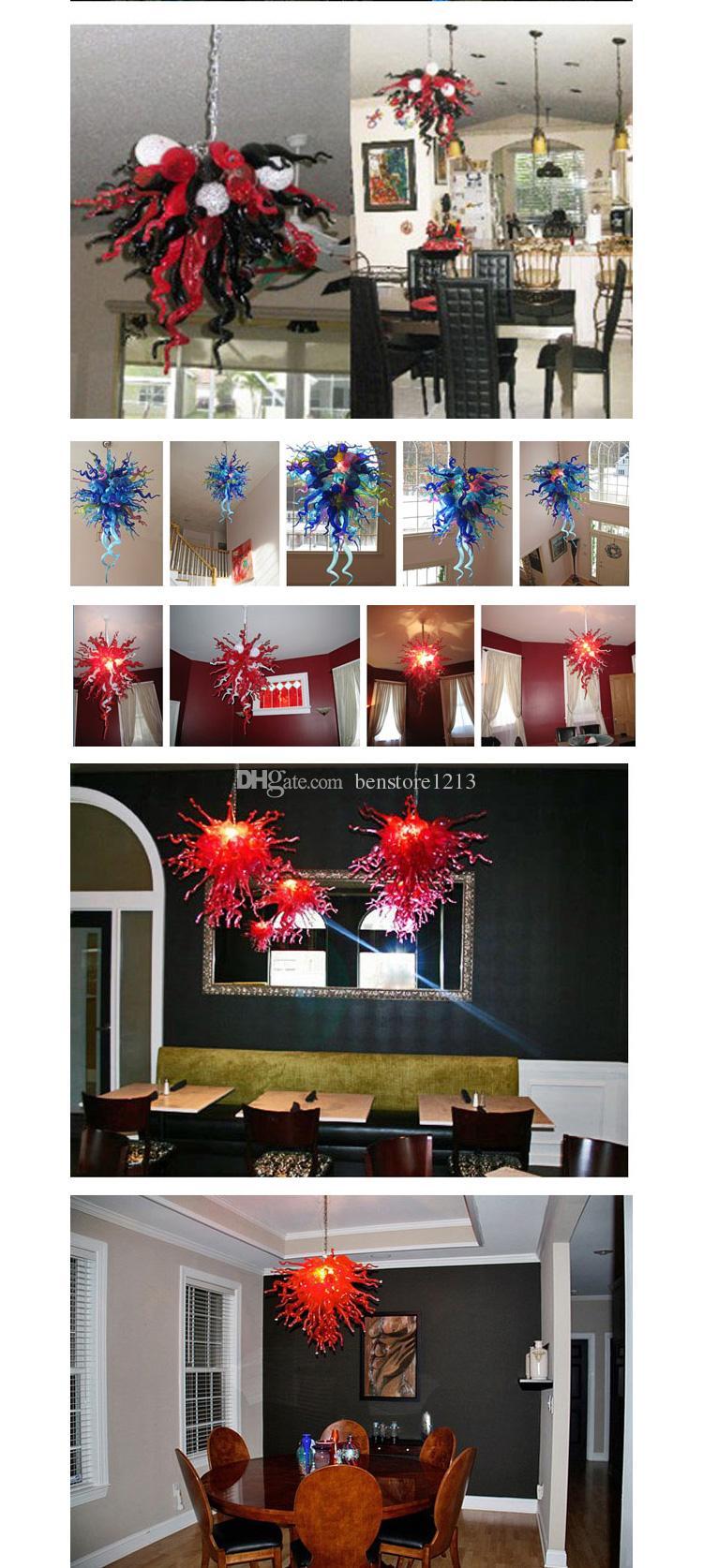 펜던트 램프 100 % 입 블로운 붕 규산 Murano 샹들리에 펜던트 라이트 아트 광택 앰버 컬러 유리 샹들리에