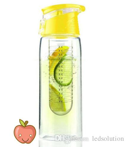 800ML Sports Lemon Juice Flip Lid Bottle Fruit Infusing Infuser Water Bottle New Random color