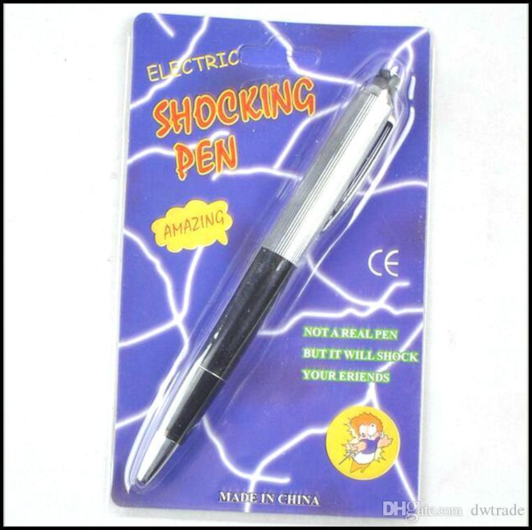 Prettybaby aprilscherz tricky spielzeug elektrische metall shock pen streich scherz schock gag stift lustige spielzeug geschenk 2 verschiedene pakete pt0209 #