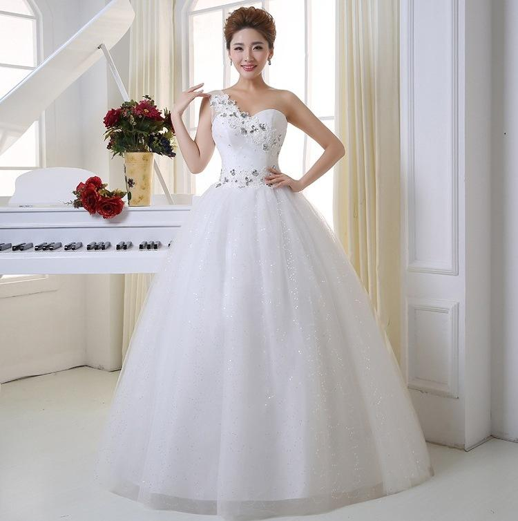 Discount Free Shipping Cwds078 One Shoulder With: Discount New Design Fashion Wedding Dress One Shoulder