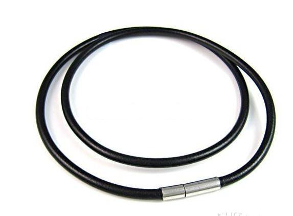 メンズ女性黒純正レザーコードネックレスチェーン2.5mm 18