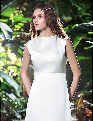 2016 New Fashion Classic Popular Ivory Sweep/Brush Train Bateau Sleeveless Chiffon Sheath/Column Wedding Dresses 161