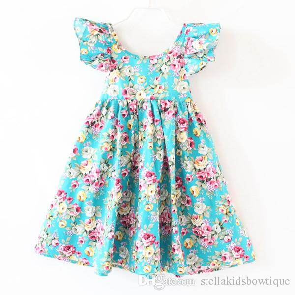 1fe763ec72 2019 Children Clothes Teal Floral Baby Girls Beach Dress Summer Backless Baby  Dress For Party Cotton Fluffy Sleeve Baby Clothes From Stellakidsbowtique,  ...