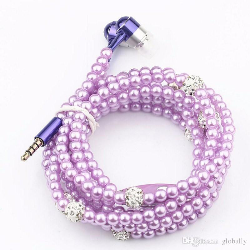 Wired Jewelry Pearl Necklace Earphones Handsfree Headphone Headset Beads Pink for IOS/Android Cell Phone Accessories