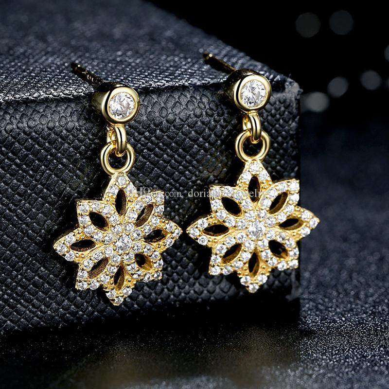 8b86a63f8 Lace Botanique Clear CZ 14K Gold Floral Blooms Drop Earrings Genuine 925 Sterling  Silver Earrings for Women ER023