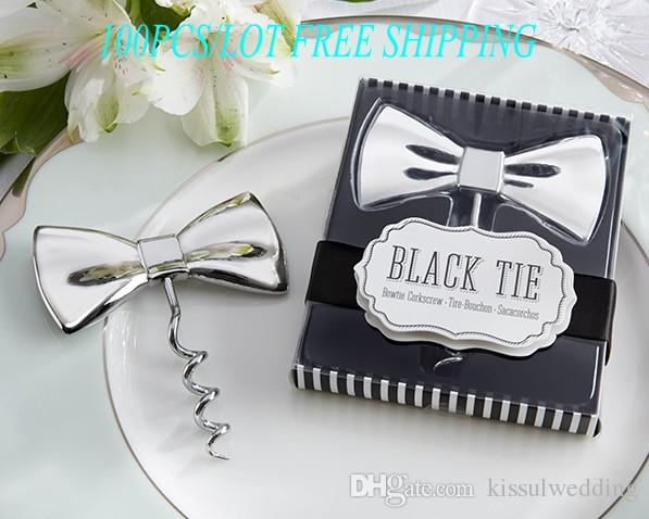 black tie bow corkscrew wedding favor gift for wine opener and party