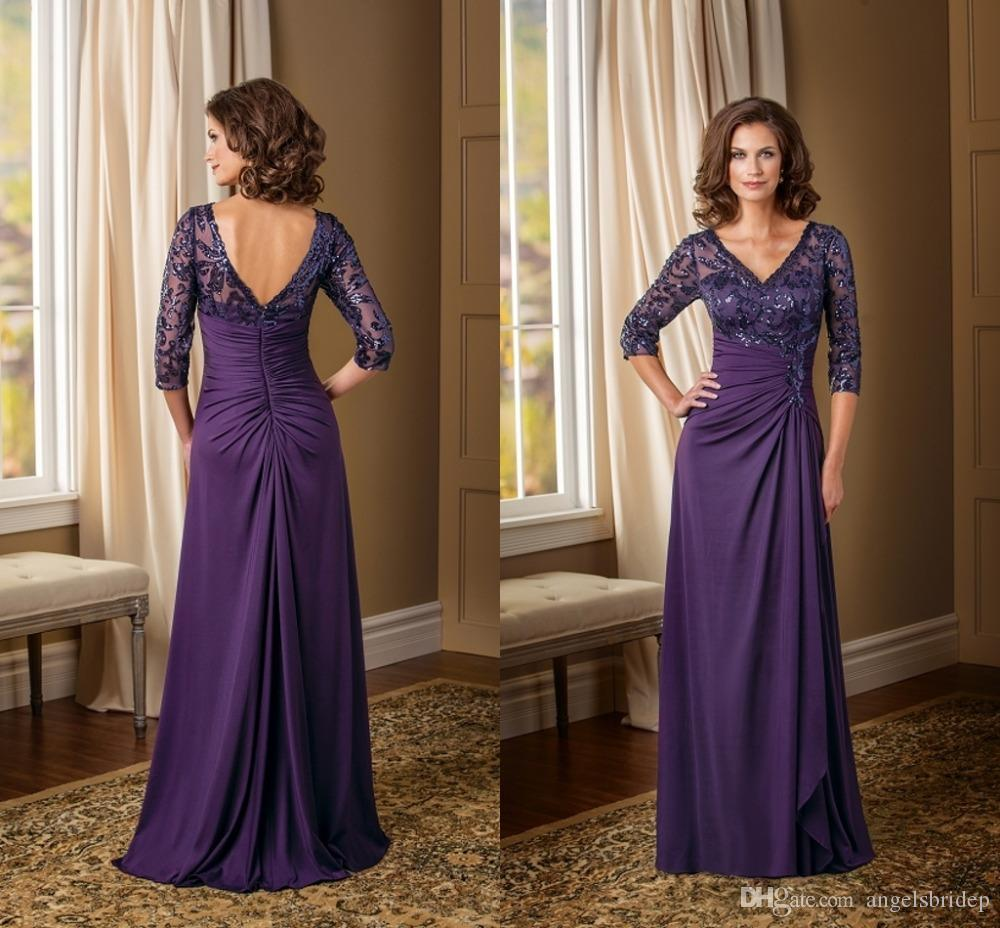 Purple Mother Of The Groom Dresses Sleeves V Neck Sequin Draped ...