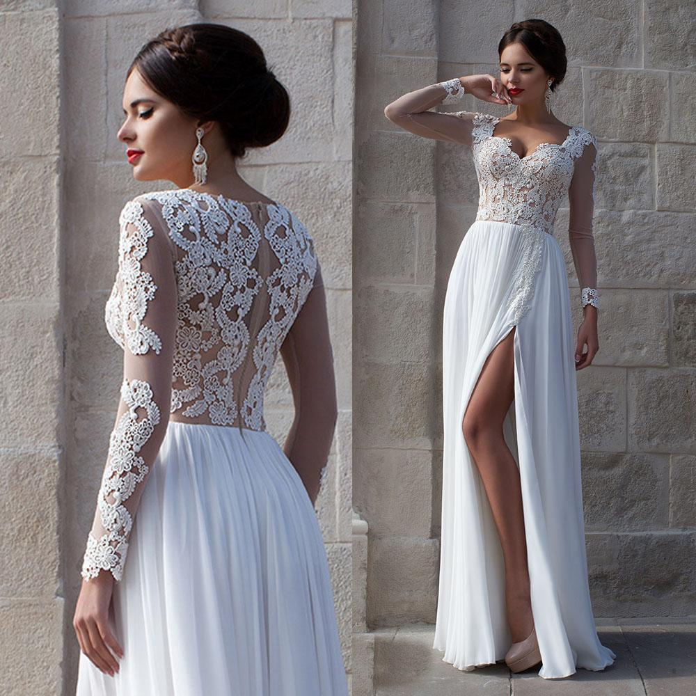 Discount 2016 Fitted Low Cut Summer Lace A Line Beach