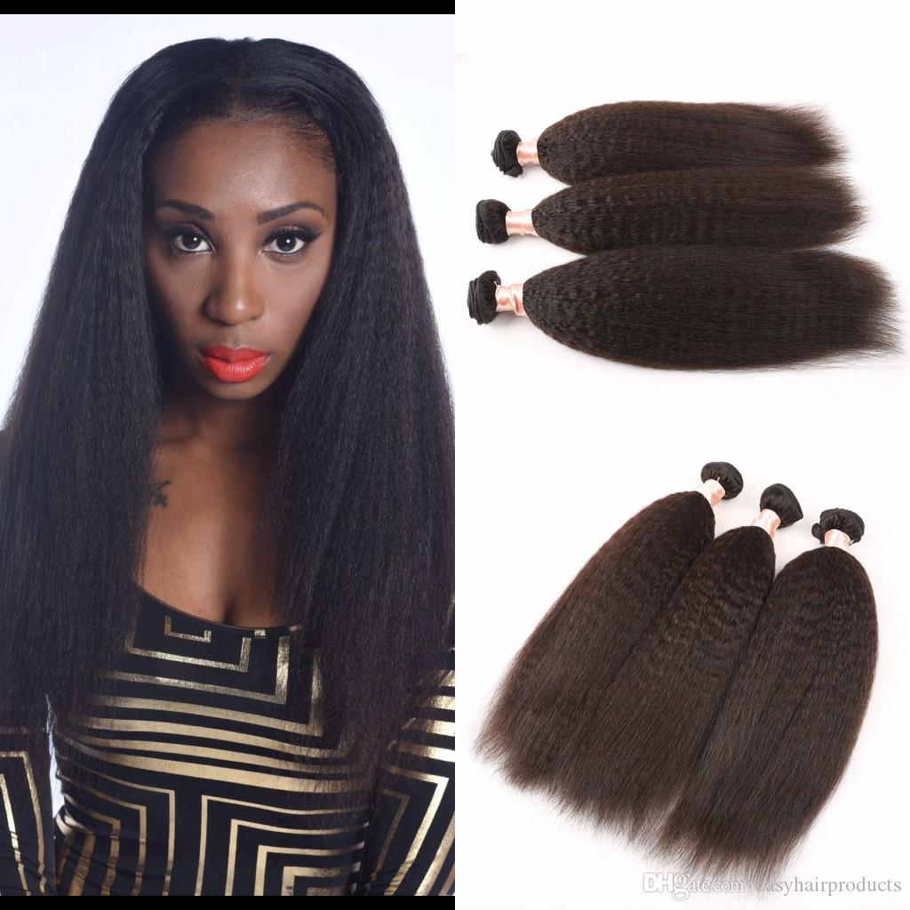 Mongolian Pure Coarse Yaki Human Hair Extensions 3 Pcs Lot Virgin Mongolian Kinky Straight Weave Instock Light Yaki Hair G-EASY Hair
