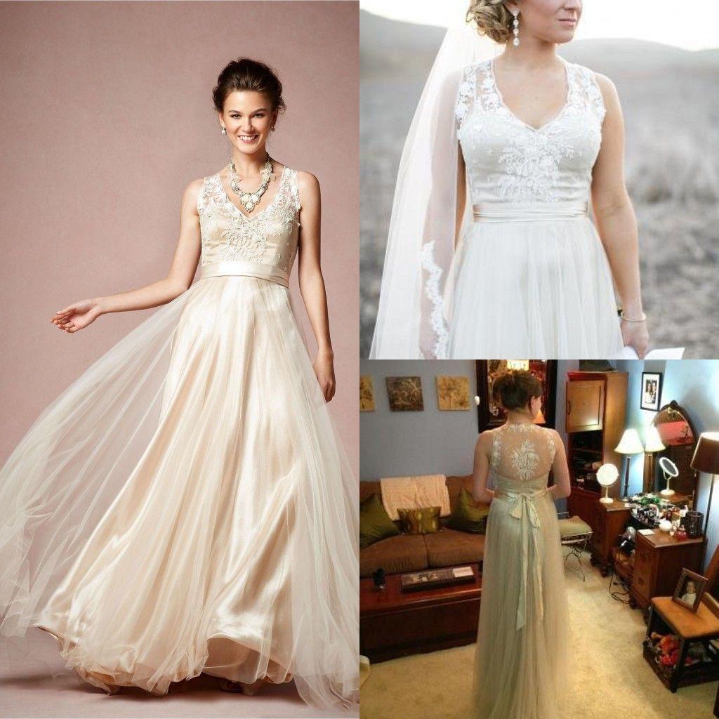 Discount 2014 Gorgeous Onyx Gown Wedding Dresses Bhldn V Neck A Line ...