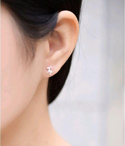 S925 bijoux en argent pur 925 Sterling silver flocons de neige fauve drawbench goujons Dessin boucles d'oreilles personnalité High Grade Anti-gouttes auriculaires