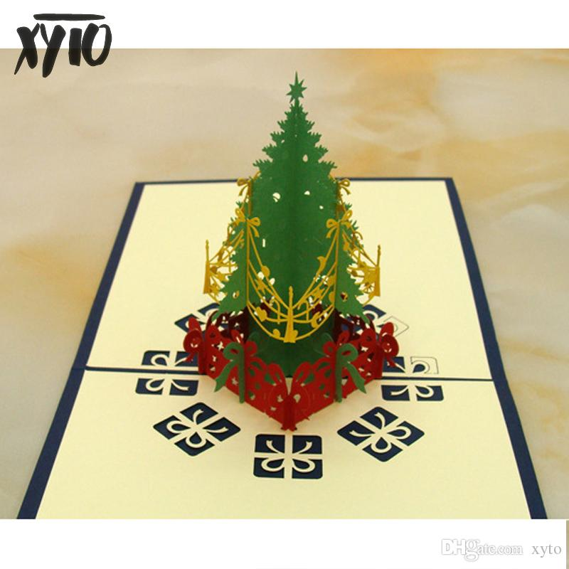 Großhandel Neue 3d Geschenkkarten Weihnachtskarte Pop Up Volkskunst ...