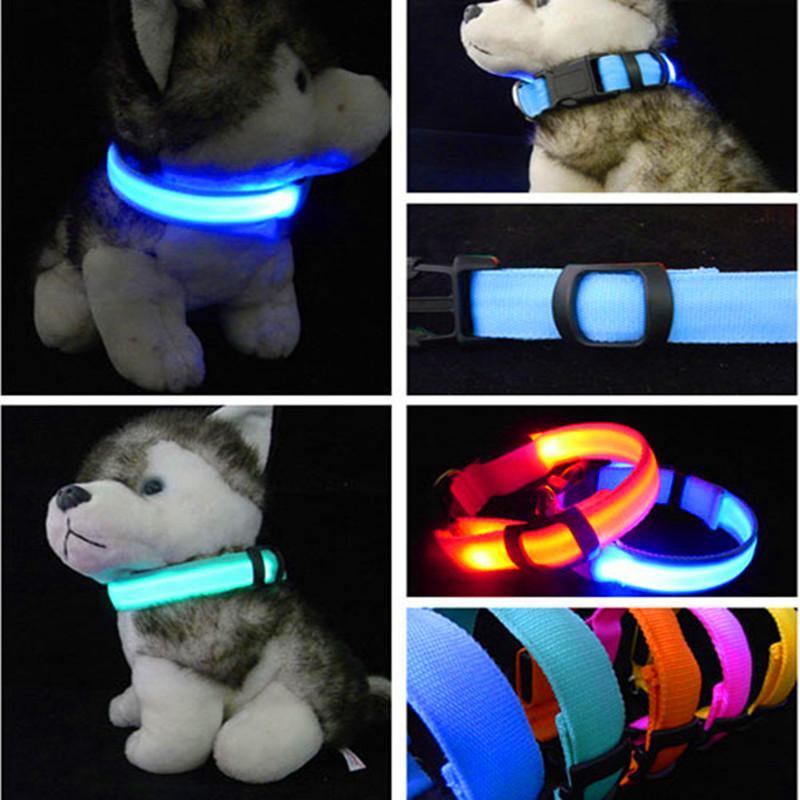 Nylon LED Dog Collar Luz Noite de Segurança LED Piscando Brilho Suprimentos Para Animais de Estimação Pet Cat Coleiras Acessórios Para Cães Para Cães Pequenos Collar LEVOU