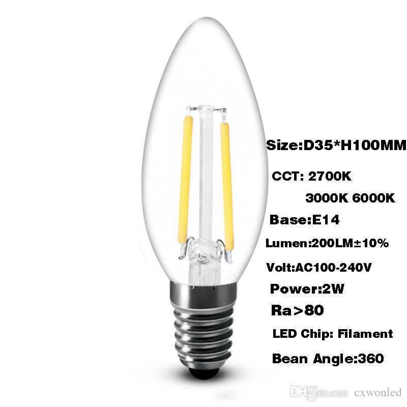 Super helle 2W 4W 200LM 450LM geführte Faden-Kerzen-Birnen beleuchten 360 Winkel 6000K 2700K E14 C35 geführte Licht-Lampe 110-240V