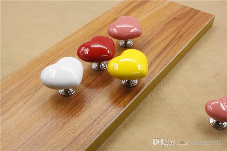 Red yellow pink white cute colorful Love ceramic single door knob/pullheart shape for cabinet locker drawer furniture accessories #28
