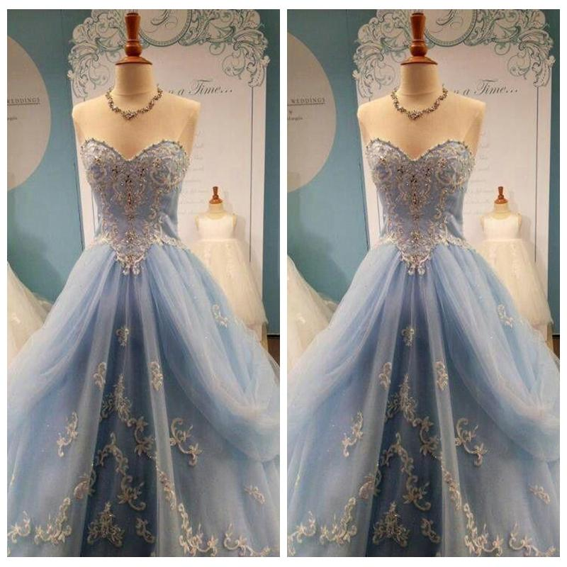 Strapless Fairy Tale Princess A Line Tulle Prom Dresses Draped Lace ...