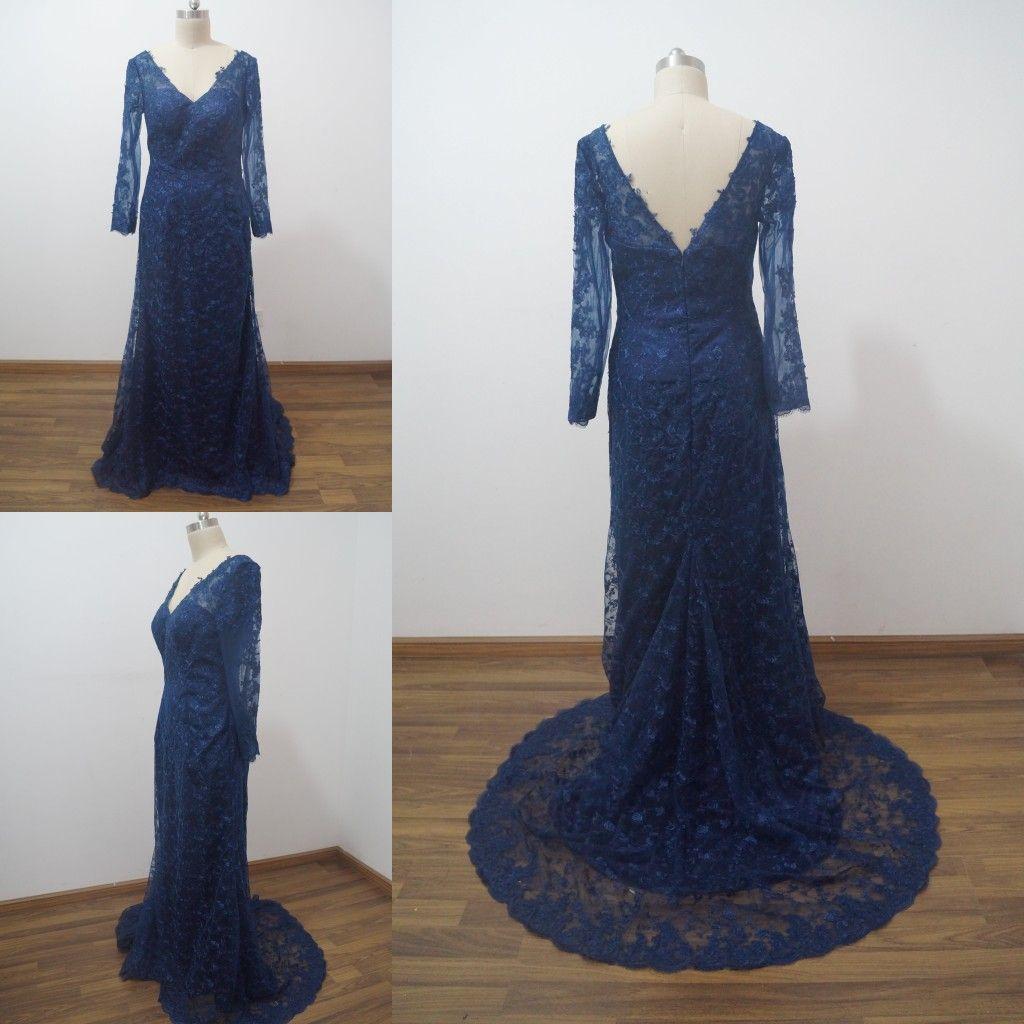 Длинные темно-синий кружева вечерние платья 2015 с длинным рукавом V шеи спинки Русалка Пром вечерние платья Vestido де Фиеста