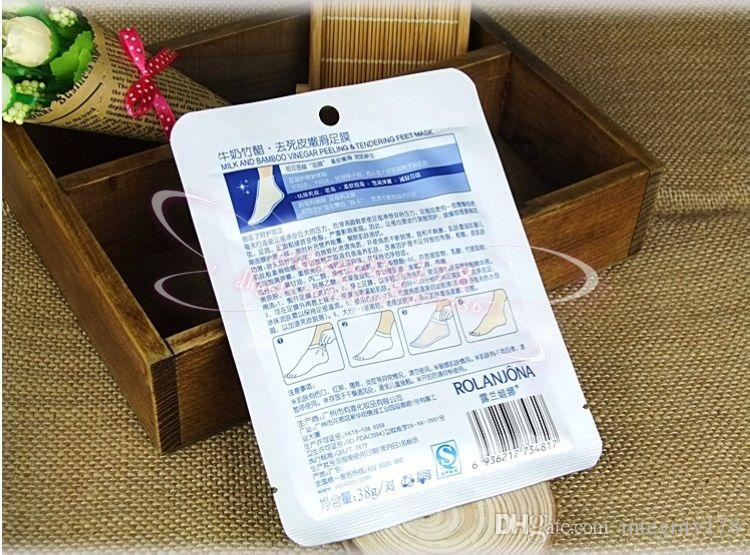 Masque pieds ROLANJONA Lait Vinaigre de Bambou Pieds Masque Peler Peeling Exfoliant Peaux Mortes Soin des Pieds 38g / paire
