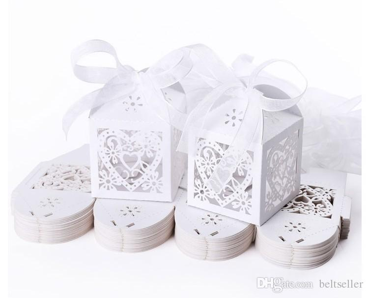 2015 New Heart Laser Cut Candy Favour Boxes With Ribbon for Wedding Party Table Decorations white pink purple color
