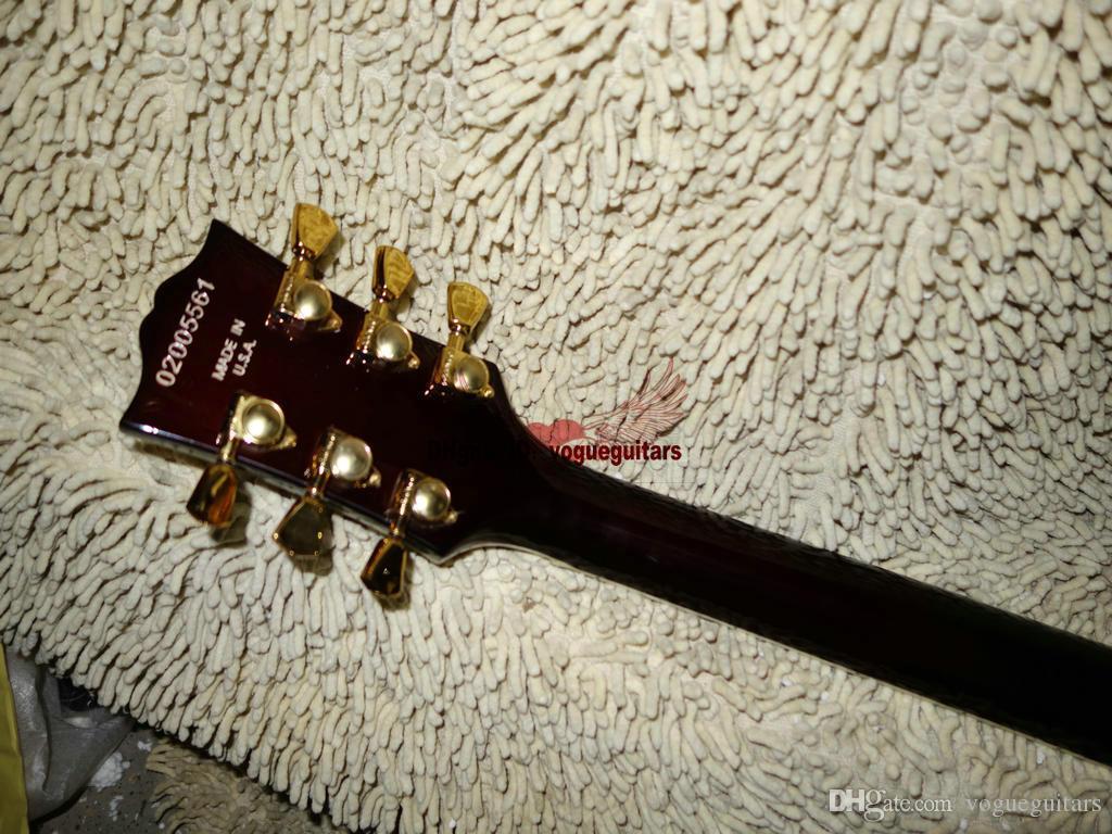 새로운 Fire Burst Hollow L-5 왼손잡이 재즈 기타 탑 악기