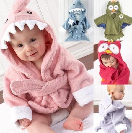 33eeb824f2 Retail Boy Girl Animal Baby Bathrobe baby Hooded Bath Towel kids ...