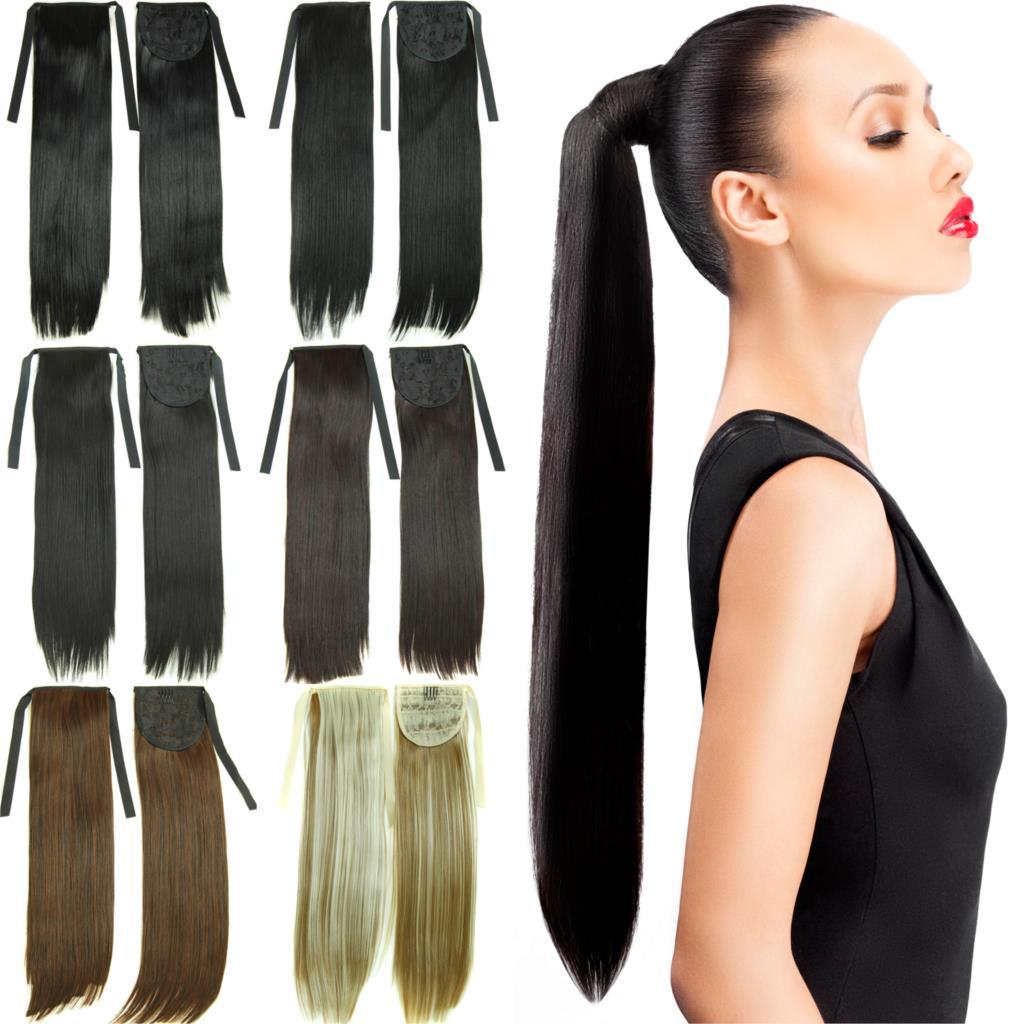 22long Straight False Hair Ponytail Apply Hair Extension Tress Pony