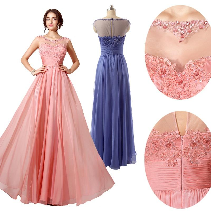 Coral Lilac Designer Bridesmaid Dresses with Sheer Scoop Neck Lace ...