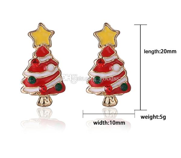 Christmas Tree Stud Earrings Korea Fashion Exquisite Diamond Cute Christmas Gift 20mm 5g Alloy + Enamel Rhinestone