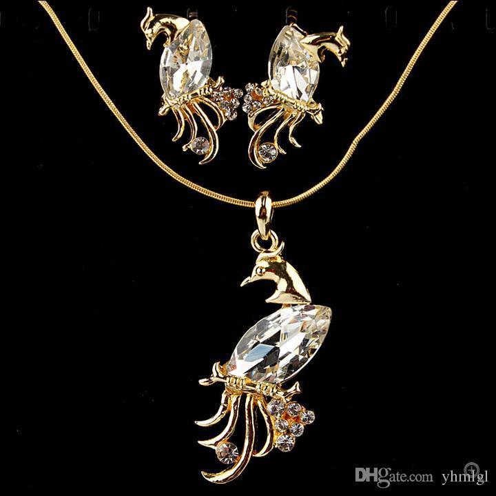 Sıcak Satış Avusturyalı Kristal Peacock Kolye 18 K Altın Kaplama NecklaceEarrings Kadınlar Için Set Zarif Vintage Takı Setleri