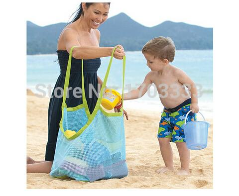 50Pcs/lot large sand away beach mesh bag Children Beach Toys Clothes Towel Bags baby toy collection bag #ECS-014