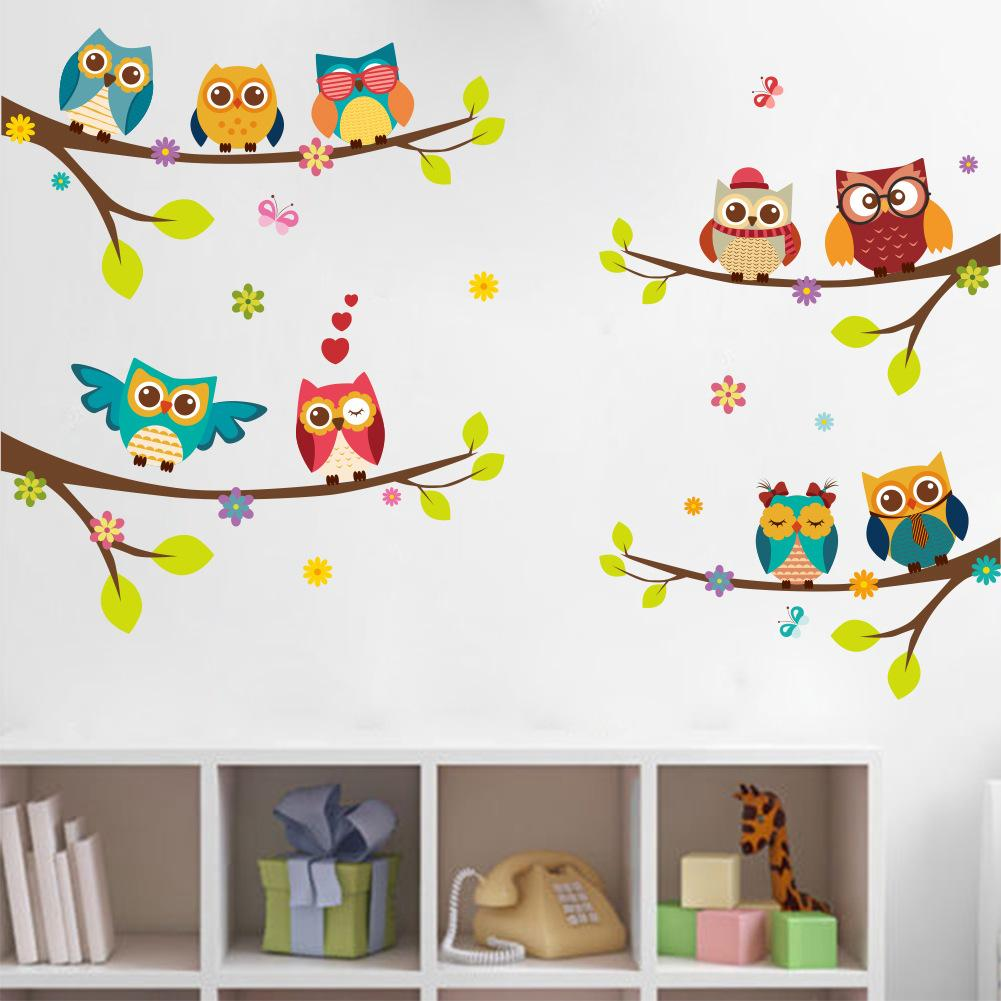 Cartoon Forest Animal Owls Tree Swing Nursery Wall Stickers Wall Murals Diy Posters Vinyl Removable Art Wall Decals For Kids Room Decoration Wall Transfers ...  sc 1 st  DHgate.com & Cartoon Forest Animal Owls Tree Swing Nursery Wall Stickers Wall ...
