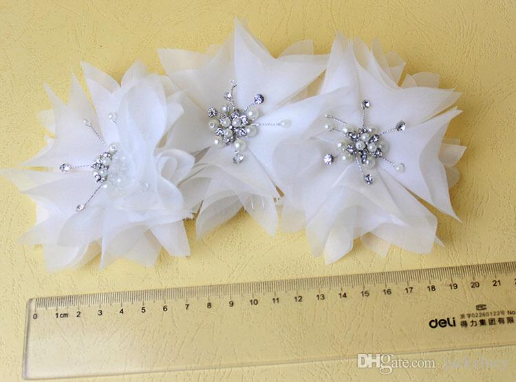 White and Ivory Bridal Wedding Dress Accessories Hair Tiara Headpiece Rhinestone Pearl Gauze Headband Jewellery