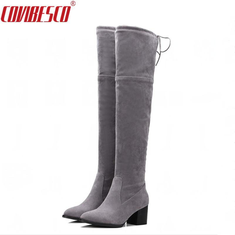 b7c8f87234e COVIBESCO Fashion Women Boots Over The Knee High Slim Shoes Solid ...