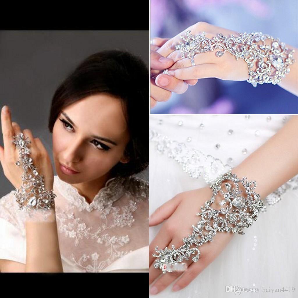 Livraison Gratuite Gants Pas Cher De Mariage Bijoux De Mariée Cristal Strass Doigt Chaîne Bague Bracelet Bracelet Magnifique Partie Événement Bracelet Bracelet