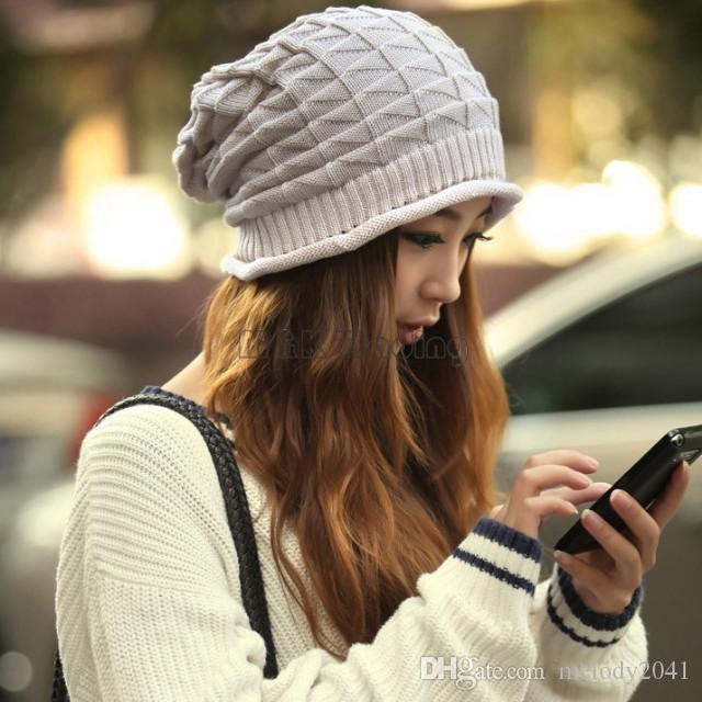 Winter White Ivory Thick Slouchy Knit Oversized Beanie Cap Hat Diamond Checked Weave Hats