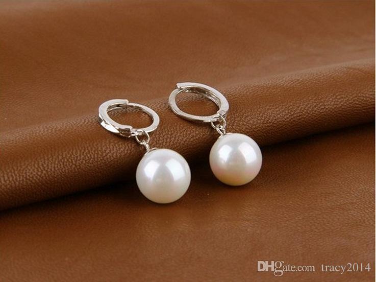 925 Silver pearl earrings ear buckle female Hoop earrings wedding earring 10mm 12mm two size 925 silver Circles earrings Ear clips
