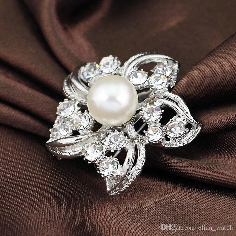 Fashion Accessories Graceful Flower Shape Rhinestone Brooch Dress Decoration Silver Collar Pin Gift Jewelry Brooch Hijab Pins
