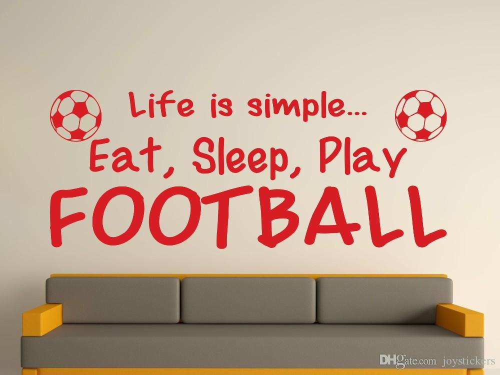 Life Is Simple Eat Sleep Play Football Wall Art Sticker sports boys name bedroom footballer art vinyl Wall Sticker Size100x40cm