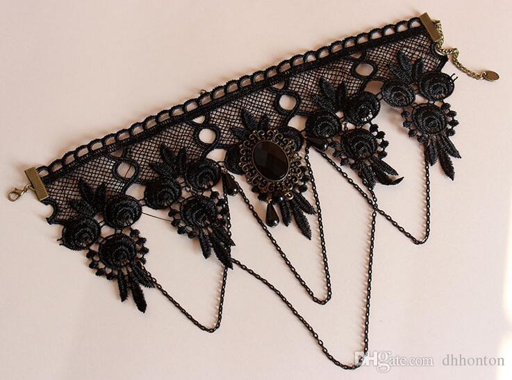 أزياء المرأة 2016 خمر اليدوية الرجعية قصيرة القوطية steampunk الدانتيل زهرة المختنق قلادة مجوهرات شحن مجاني