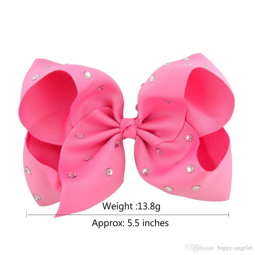 """girl 5"""" Plain colour ribbon ABC hair bows alligator clips with CZ rhinestone school headwear hair elastic ties accessories HD3495"""