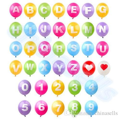 new DIY 16-inch alphabet English letter Number A-Z 0-9 inflatable balloons birthday party wedding Christmas decoration latex balloon