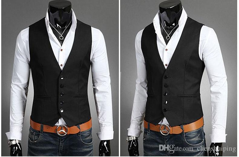 Men Vests Outerwear Mens vest Man Casual Suits Slim Fit Stylish Short Coats Suit Blazer Jackets Coats Korean wedding Mens V-neck vest