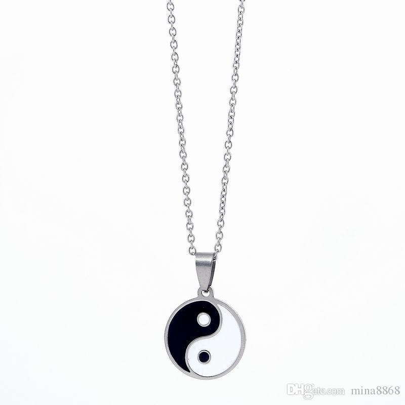 Fashion Tattoo Tai chi necklace punk long chain Yin Yang Symbol Pendant Necklace for women men jewelry