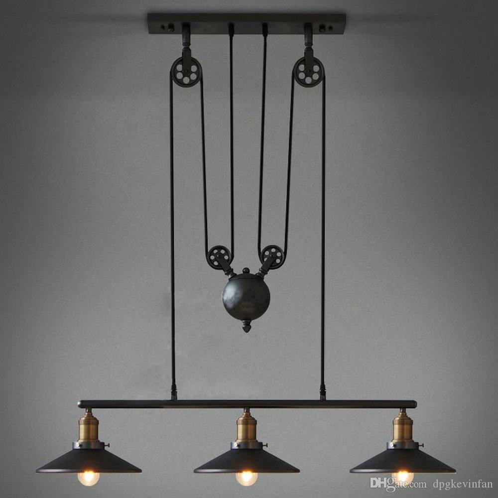 Pendant Lights American Retro Industrial Style Pulley Lift