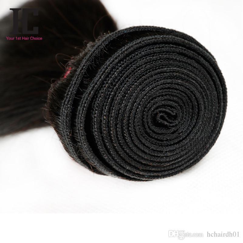 귀에 귀에 레이스 7 개 묶음이있는 정면 폐쇄 7 개 페르시아어 버진 머리가 묶인 스트레이트 헤어 13x4 레이스 정면
